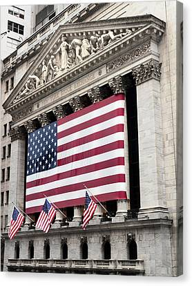 Building Canvas Print - The Facade Of The New York Stock by Justin Guariglia