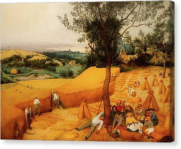 Canvas Print featuring the painting The Harvesters by Pieter Bruegel The Elder