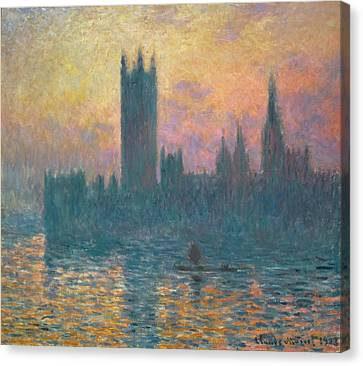 The Houses Of Parliament, Sunset Canvas Print by Claude Monet