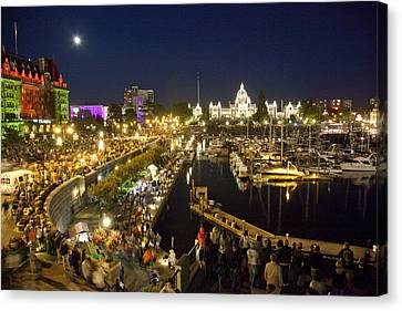 The Inner Harbor On A Busy Summer Canvas Print by Taylor S. Kennedy