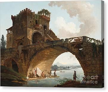 The Ponte Salario Canvas Print by Hubert Robert