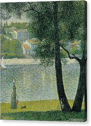 The Seine At Courbevoie Canvas Print by Georges Seurat
