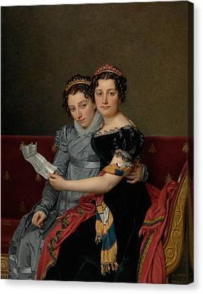 The Sisters Zenaide And Charlotte Bonaparte Canvas Print by Jacques-Louis David