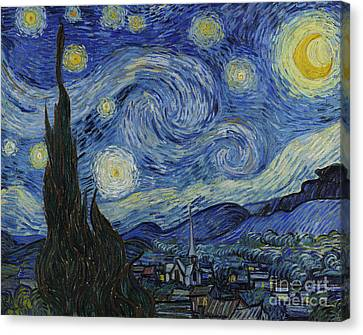 Moon Canvas Print - The Starry Night by Vincent Van Gogh