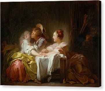 Canvas Print featuring the painting The Stolen Kiss by Jean-Honore Fragonard