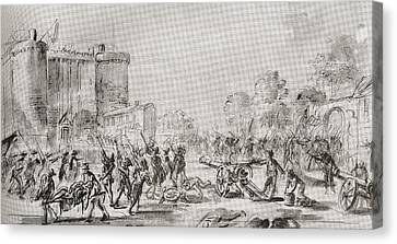 The Storming Of The Bastille, Paris Canvas Print by Vintage Design Pics