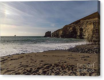 Canvas Print featuring the photograph Trevellas Cove Cornwall by Brian Roscorla