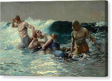 Canvas Print featuring the painting Undertow by Winslow Homer