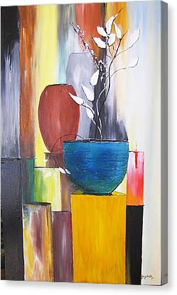 Canvas Print featuring the painting 3 Vases by Gary Smith
