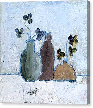 3 Vases Canvas Print by Judy Jacobs