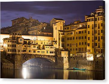 Vecchio Bridge At Night Canvas Print by Andre Goncalves