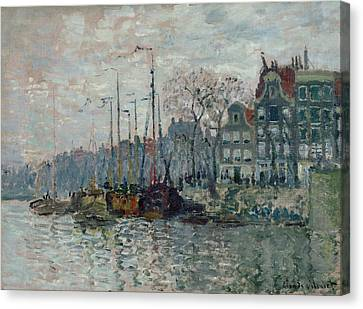 View Of The Prins Hendrikkade And The Kromme Waal In Amsterdam Canvas Print by Claude Monet