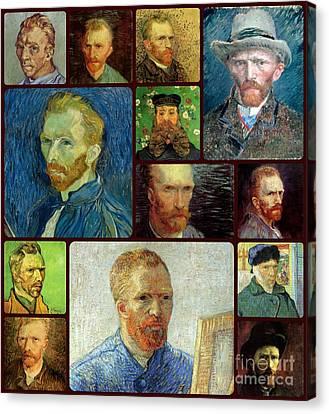 Vincent Van Gogh Self Portrait Collage Canvas Print