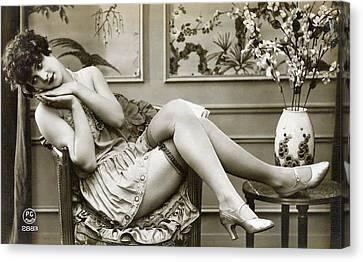 Vintage Nude Postcard Image Canvas Print