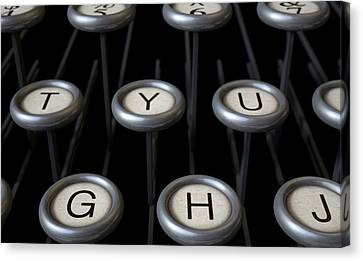 Typewriter Keys Canvas Print - Vintage Typewriter Keys Close Up by Allan Swart