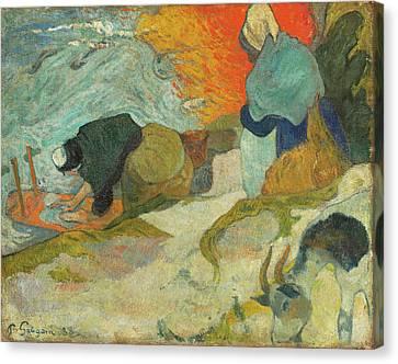 Washerwomen In Arles Canvas Print by Paul Gauguin