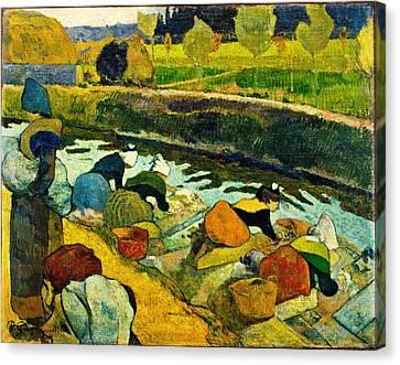 Washerwomen Canvas Print by Paul Gauguin