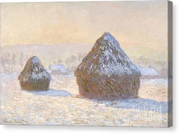 Casting Canvas Print - Wheatstacks by Claude Monet