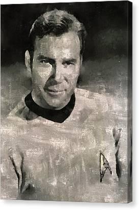 Mansfield Canvas Print - William Shatner Star Trek's Captain Kirk by Mary Bassett