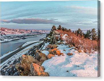 winter sunrise over Horsetooth Reservoir Canvas Print by Marek Uliasz