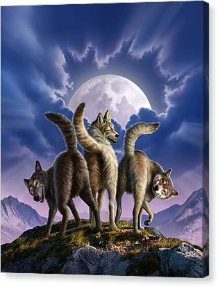 3 Wolves Mooning Canvas Print by Jerry LoFaro