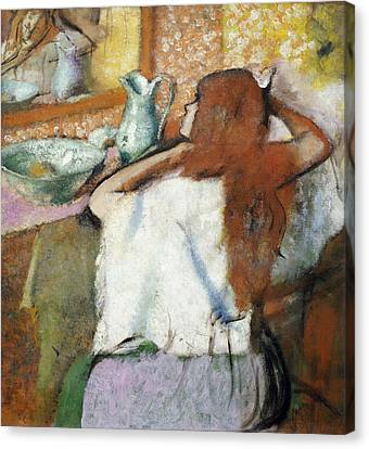 Woman At Her Toilet Canvas Print by MotionAge Designs