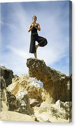 Woman Doing Yoga Canvas Print by Kicka Witte - Printscapes