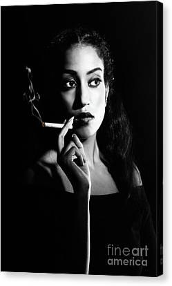 Woman Smoking Canvas Print by Amanda Elwell