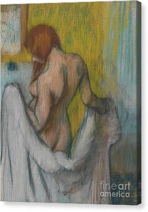 Woman With A Towel Canvas Print by Edgar Degas
