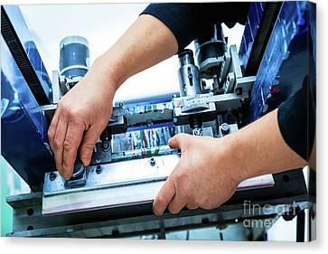 Worker Setting Print Screening Metal Machine Canvas Print