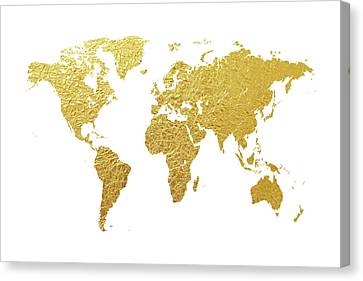 World Map Gold Foil Canvas Print