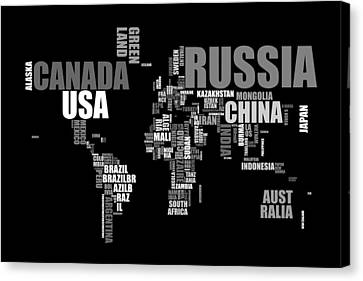 Map Art Canvas Print - World Map In Words by Michael Tompsett