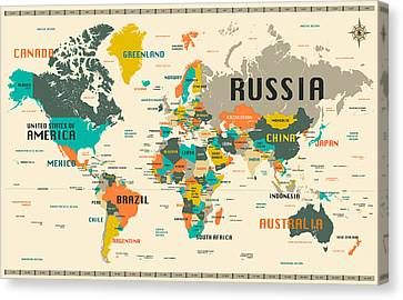 World Map Canvas Print by Jazzberry Blue