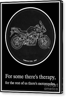 Yamaha Fz6b 2007 Art Print And Motorcycle Quote, Gift For Men Canvas Print by Pablo Franchi