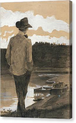 Young Man Canvas Print - Young Man On A Riverbank by Umberto Boccioni