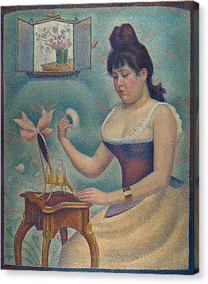Young Woman Powdering Herself Canvas Print by Georges Seurat