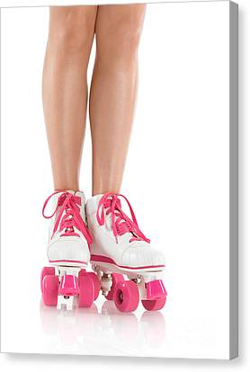 Young Woman Wearing Roller Derby Skates Canvas Print by Oleksiy Maksymenko