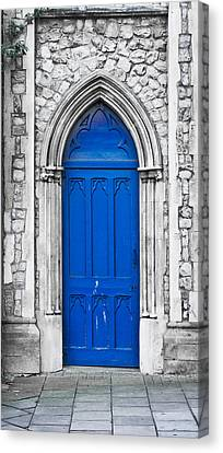 Medieval Entrance Canvas Print - Blue Door by Tom Gowanlock