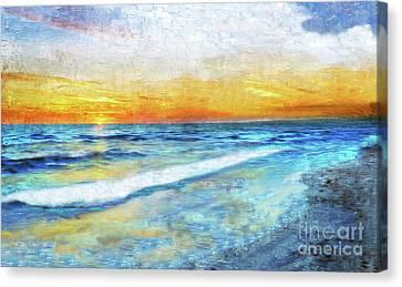 Seascape Sunrise Impressionist Digital Painting 31a Canvas Print