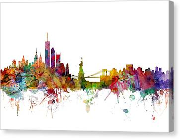 Watercolour Canvas Print - New York Skyline by Michael Tompsett