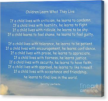 Spirits Canvas Print - 33- Children Learn What They Live by Joseph Keane
