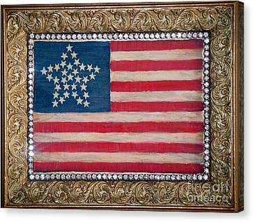 33 Star American Flag. Painting Of Antique Design Canvas Print by Sofia Metal Queen