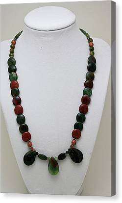 3505 Fancy Jasper And Unakite Necklace Canvas Print by Teresa Mucha