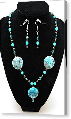 3508 Crazy Lace Agate Necklace And Earrings Canvas Print
