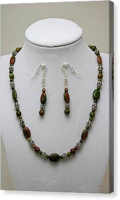 3525 Unakite Necklace And Earring Set Canvas Print by Teresa Mucha