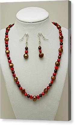 3536 Freshwater Pearl Necklace And Earring Set Canvas Print by Teresa Mucha