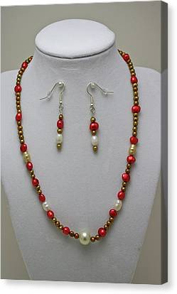 3539 Pearl Necklace And Earring Set Canvas Print by Teresa Mucha