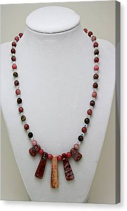 3541 Rhodonite And Jasper Necklace Canvas Print by Teresa Mucha