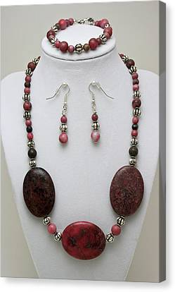 3544 Rhodonite Necklace Bracelet And Earring Set Canvas Print by Teresa Mucha