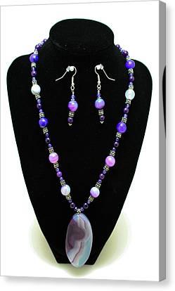 3547 Purple Veined Agate Set Canvas Print by Teresa Mucha